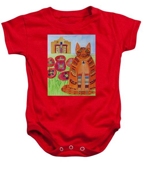 the Orange Alamo Cat Baby Onesie