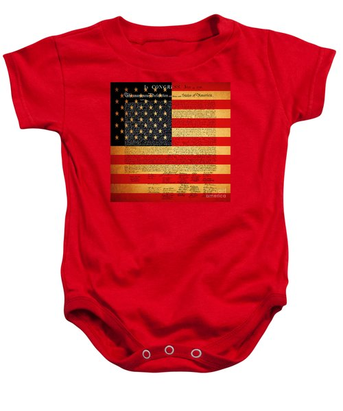The United States Declaration Of Independence - American Flag - Square Baby Onesie