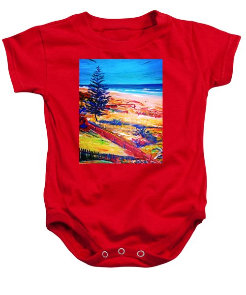 Baby Onesie featuring the painting The Winter Dunes by Winsome Gunning