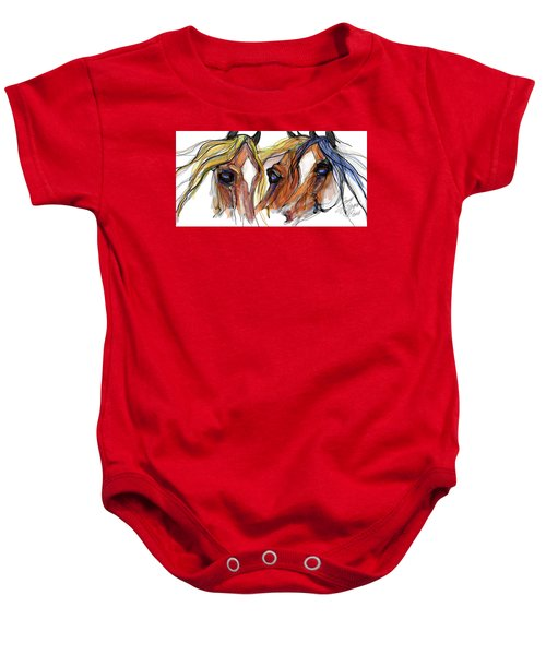 Three Horses Talking Baby Onesie