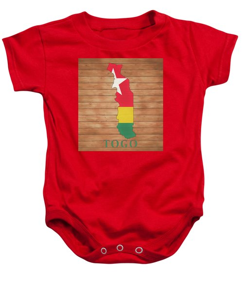 Togo Rustic Map On Wood Baby Onesie