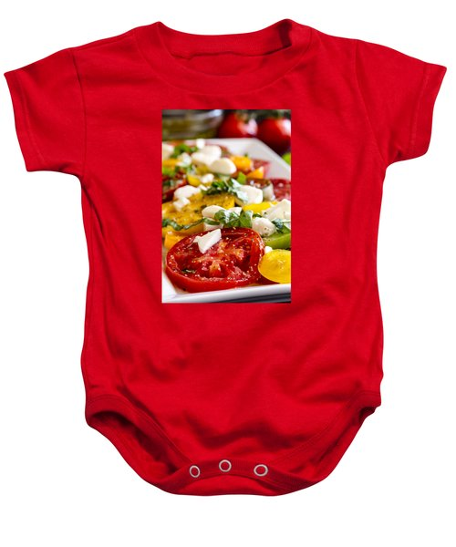 Tomatoes, Basil And Cheese Baby Onesie