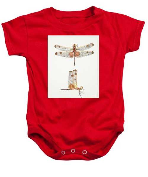 Top And Side Views Of A Male Calico Pennant Dragonfly Baby Onesie