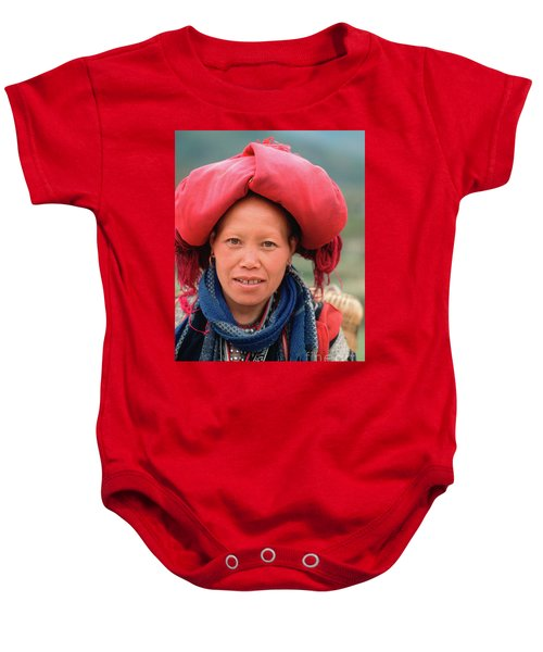 Traditional Fashion Of A Red Dzao Woman Baby Onesie