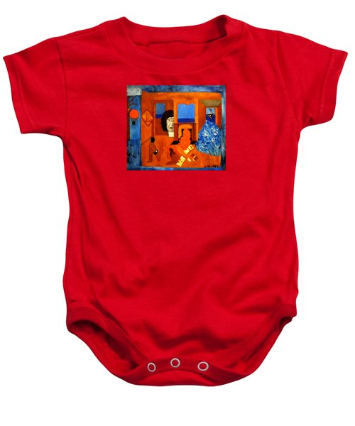 Baby Onesie featuring the painting Trying To Find The Way Out Or Is It Better To Stay   by Colette V Hera  Guggenheim