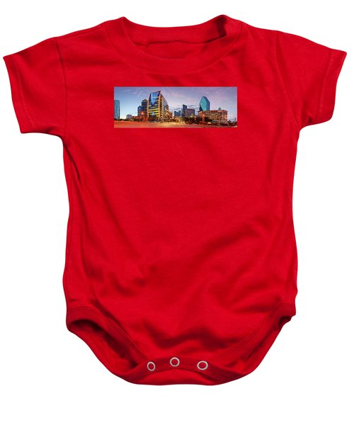 Twilight Panorama Of Downtown Dallas Skyline - North Akard Street Dallas Texas Baby Onesie
