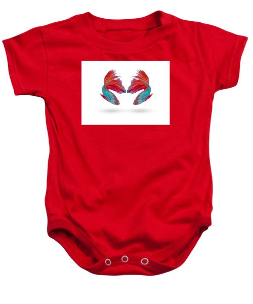 Two Fighting Fish On White Background Baby Onesie