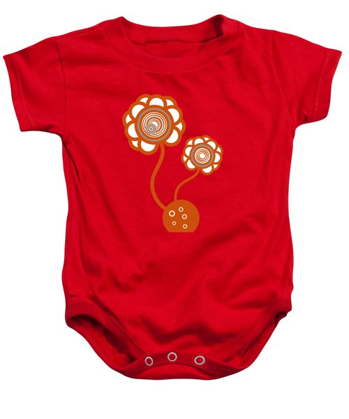 Two Orange Flowers Baby Onesie