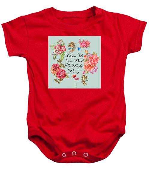 Typography Flowers  Baby Onesie