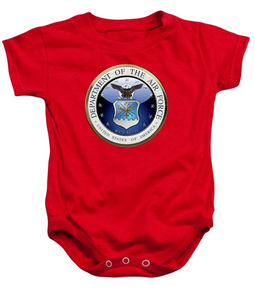 U. S.  Air Force  -  U S A F Emblem Over Red Velvet Baby Onesie