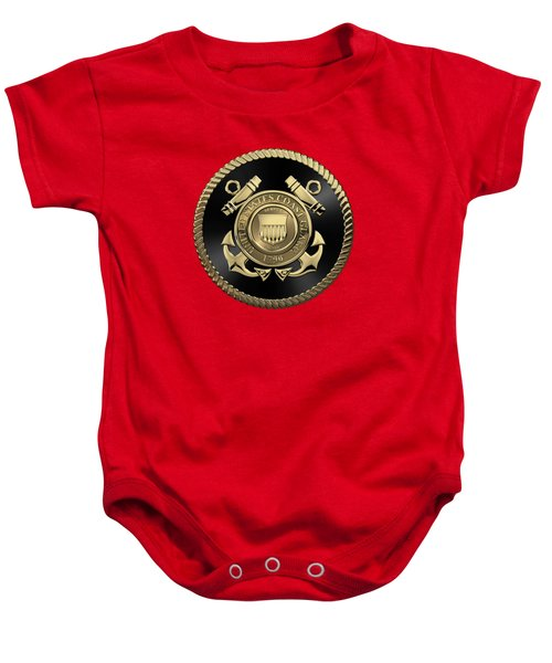 U. S.  Coast Guard  -  U S C G Emblem Black Edition Over Red Velvet Baby Onesie