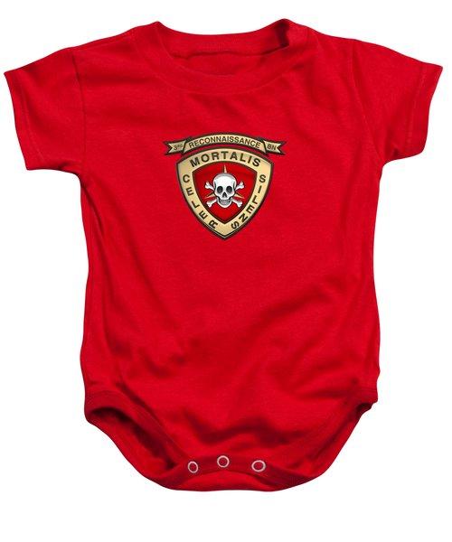 U S M C  3rd Reconnaissance Battalion -  3rd Recon Bn Insignia Over Red Velvet Baby Onesie