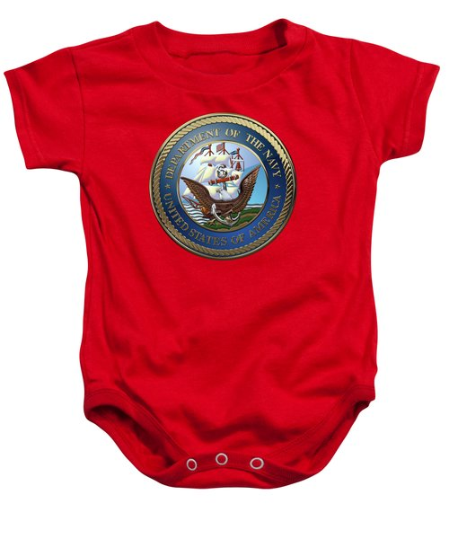U. S.  Navy  -  U S N Emblem Over Red Velvet Baby Onesie