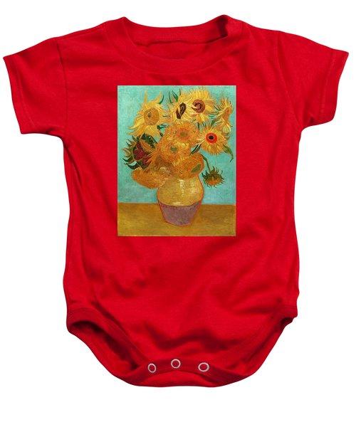 Baby Onesie featuring the painting Vase With Twelve Sunflowers by Van Gogh