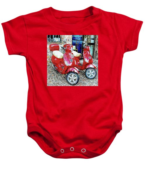 Vespa Twins Red Baby Onesie