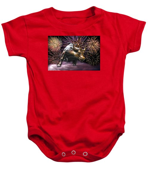 Wall Street Bull Fireworks Baby Onesie