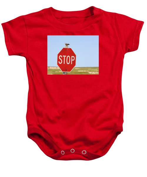 Western Meadowlark Singing On Top Of A Stop Sign Baby Onesie by Louise Heusinkveld