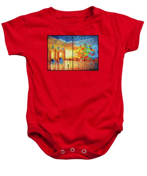 Baby Onesie featuring the painting Western Wall Jerusalem Wailing Wall Acrylic Painting 2 Panels by Georgeta Blanaru