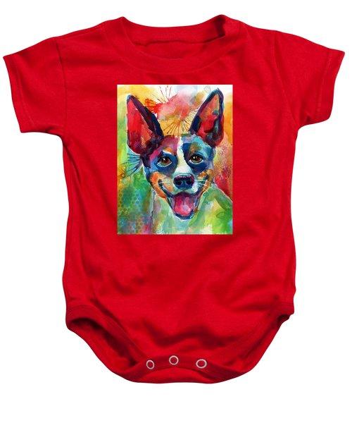 Whimsical Rat Terrier Dog Painting Baby Onesie by Svetlana Novikova