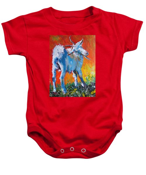 White Goat Painting - Scratching My Back Baby Onesie