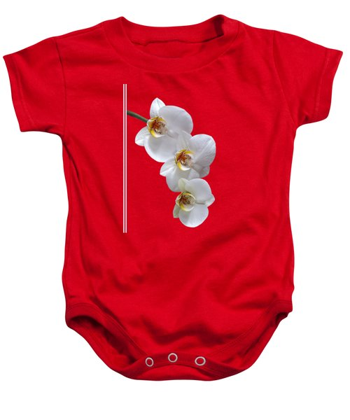 White Orchids On Terracotta Vdertical Baby Onesie