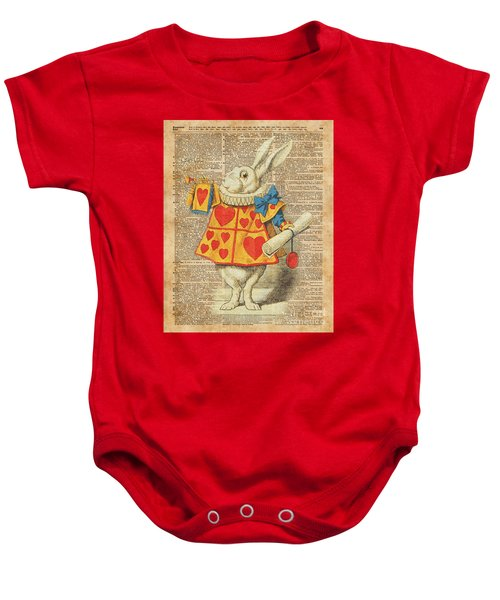 White Rabbit With Trumpet Alice In Wonderland Vintage Dictionary Artwork Baby Onesie