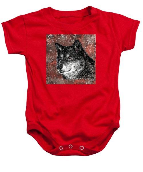 Wild Dark Wolf Baby Onesie