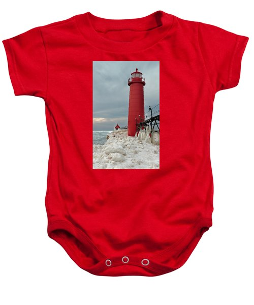 Winter At Grand Haven Lighthouse Baby Onesie