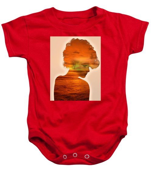 Woman And A Sunset Baby Onesie