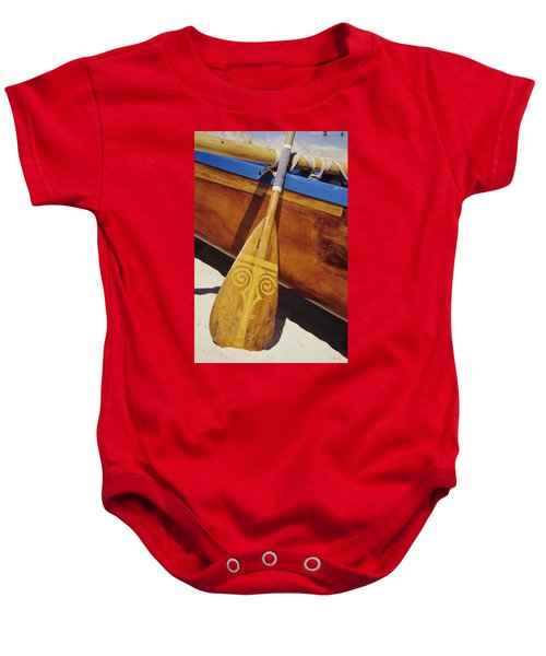 Wooden Paddle And Canoe Baby Onesie