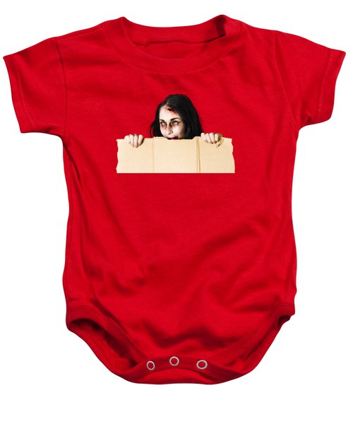 Baby Onesie featuring the photograph Zombie Woman Peering Out Cardboard Box by Jorgo Photography - Wall Art Gallery