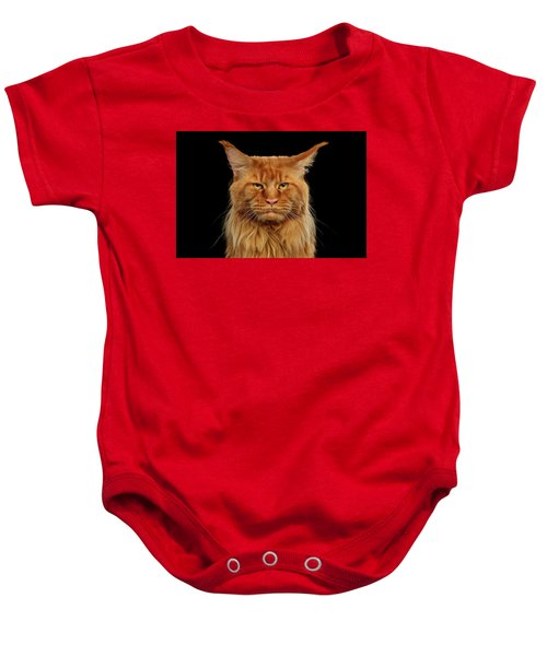 Angry Ginger Maine Coon Cat Gazing On Black Background Baby Onesie