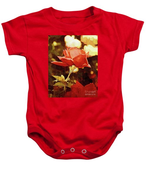 Single Rose Bloom In Gothic Baby Onesie