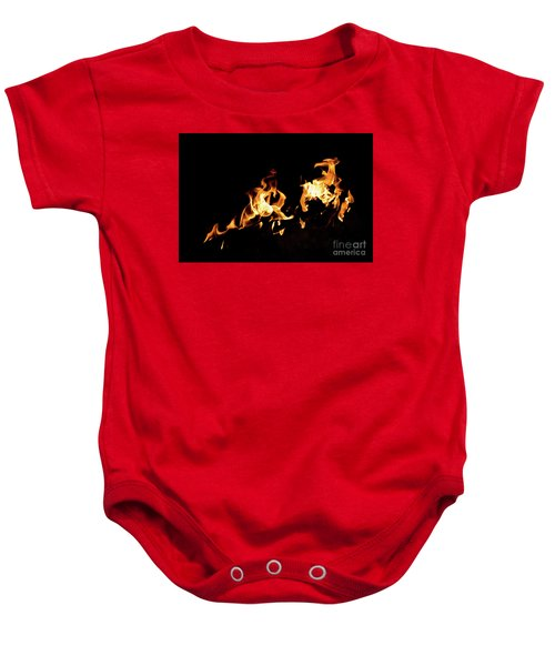 Flames In The Fire Of A Red And Yellow Barbecue. Baby Onesie