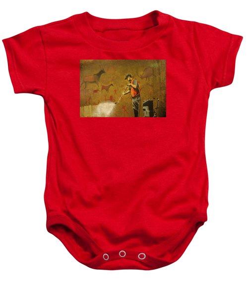 Banksy's Cave Painting Cleaner Baby Onesie