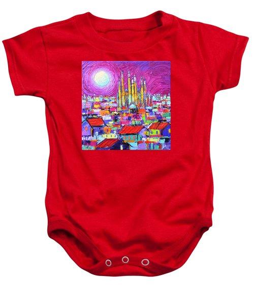 Barcelona Mystic Full Moon Over Sagrada Familia Abstract Cityscape Knife Painting Ana Maria Edulescu Baby Onesie
