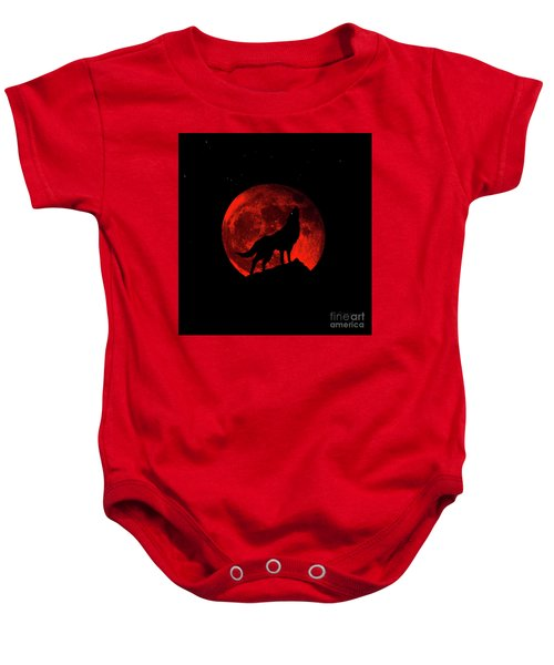 Blood Red Wolf Supermoon Eclipse 873l Baby Onesie