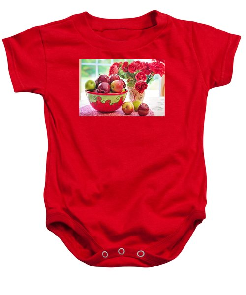 Bowl Of Red Apples Baby Onesie