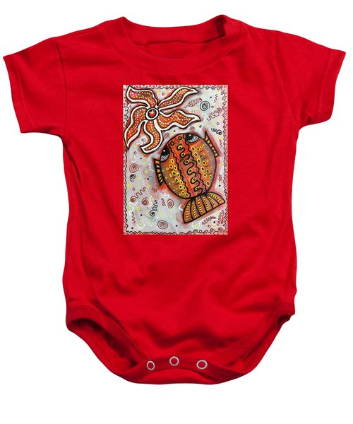 Brother Fish And Sister Starfish In Deep Conversation Baby Onesie