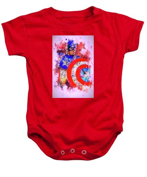 Captain America Watercolor Baby Onesie