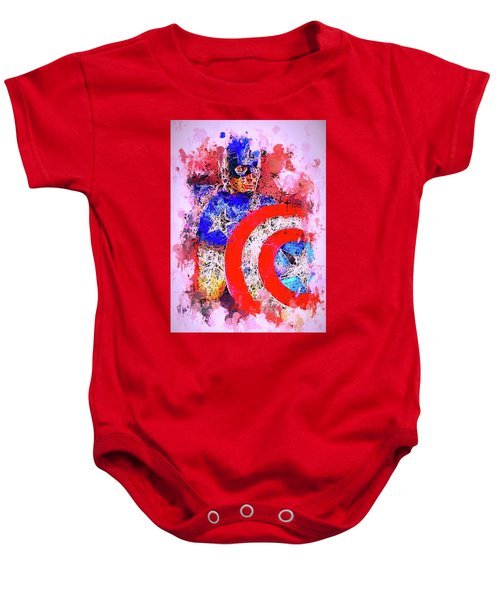 Captain America Watercolor Baby Onesie