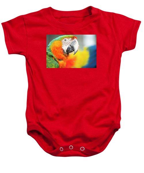 Close Up Of The Macaw Bird. Baby Onesie