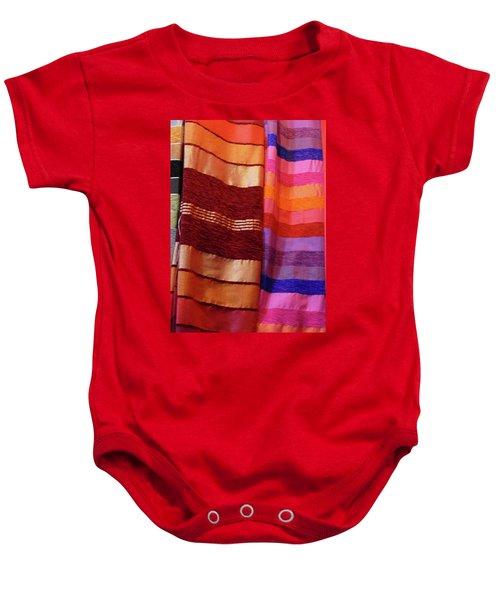 Colorful Fabrics In The Medina Market  Baby Onesie