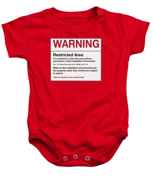 Deadly Force Warning Sign Baby Onesie