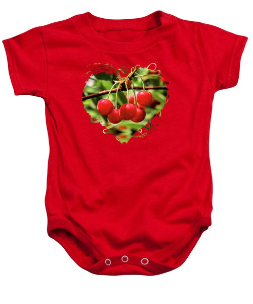 Door County Cherry Hanging Cherries Baby Onesie