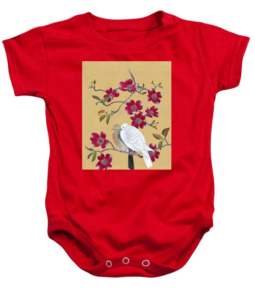 Doves In Red Dogwood Tree Baby Onesie