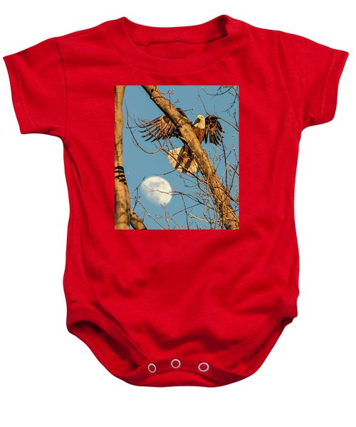 Eagle And Moon  Baby Onesie