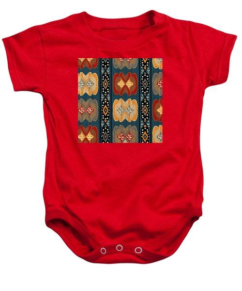 East African Heart And Diamond Stripe Pattern Baby Onesie