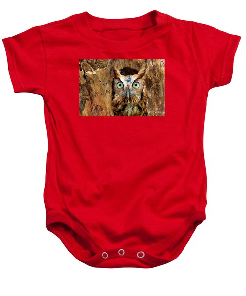 Eastern Screech Owl Perched In A Hole In A Tree Baby Onesie