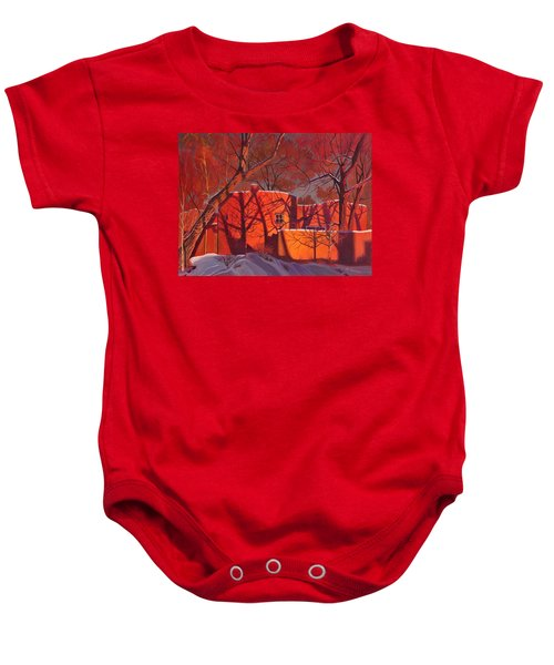 Evening Shadows On A Round Taos House Baby Onesie